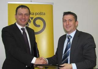 Predsjednik Uprave Hrvatske pošte Robert Jukić i predsjednik Uprave tvrtke Odašiljači i veze Denis Nikola Kulišić